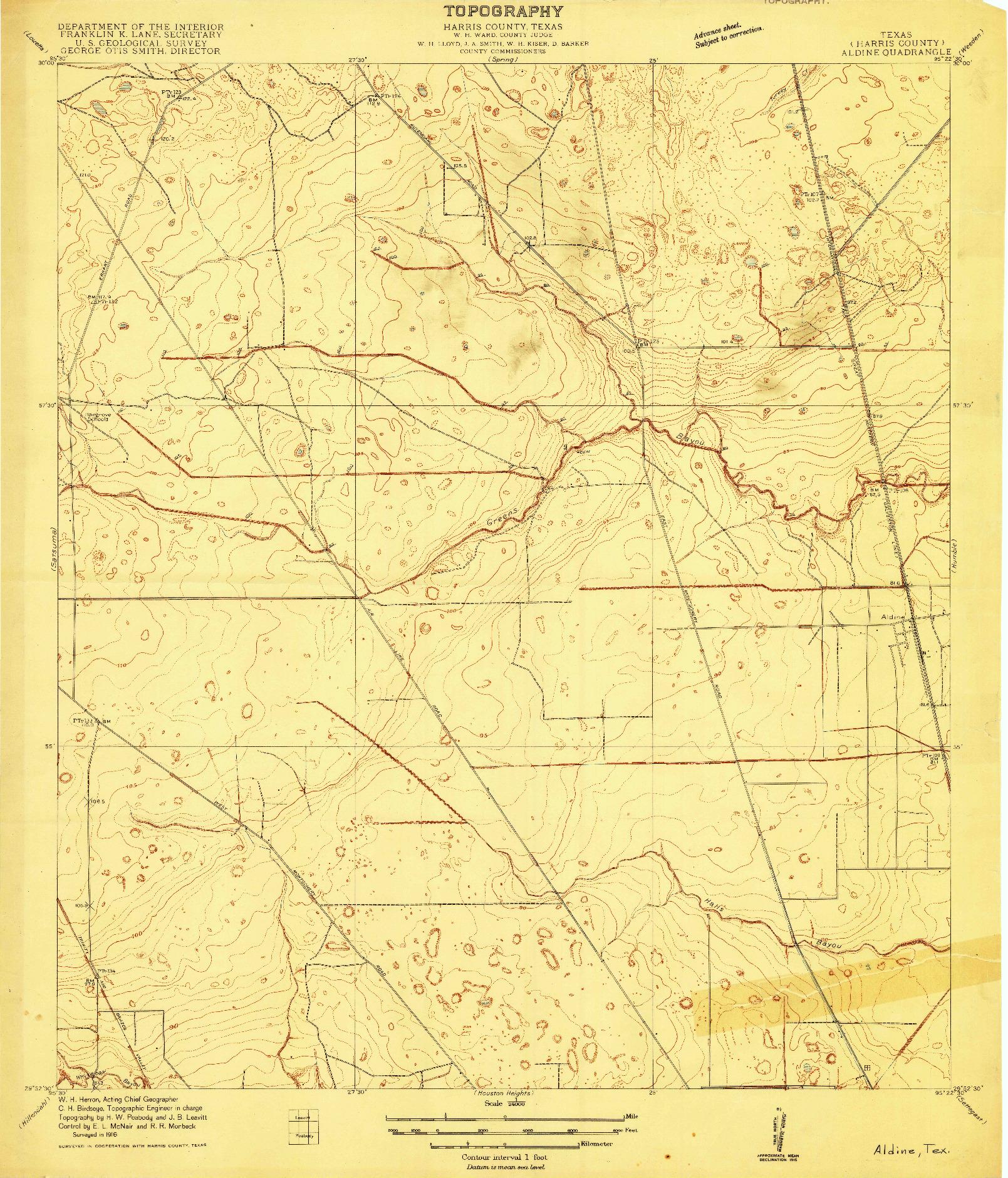 USGS 1:24000-SCALE QUADRANGLE FOR ALDINE, TX 1916