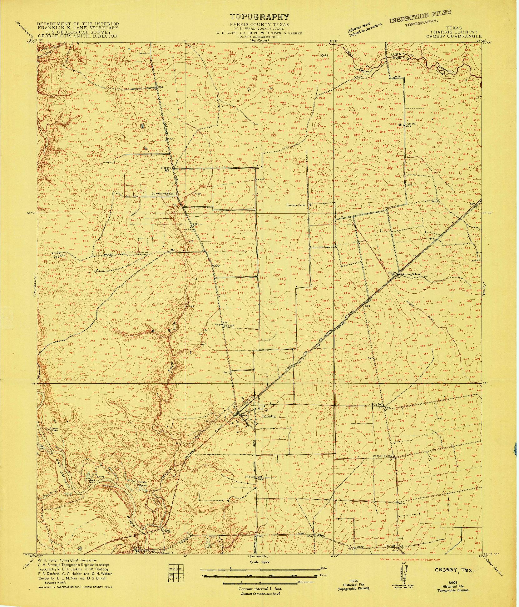 USGS 1:24000-SCALE QUADRANGLE FOR CROSBY, TX 1916