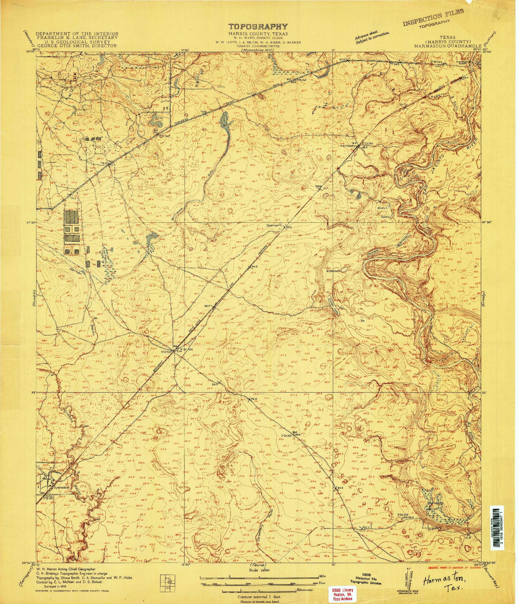 USGS 1:24000-SCALE QUADRANGLE FOR HARMASTON, TX 1916