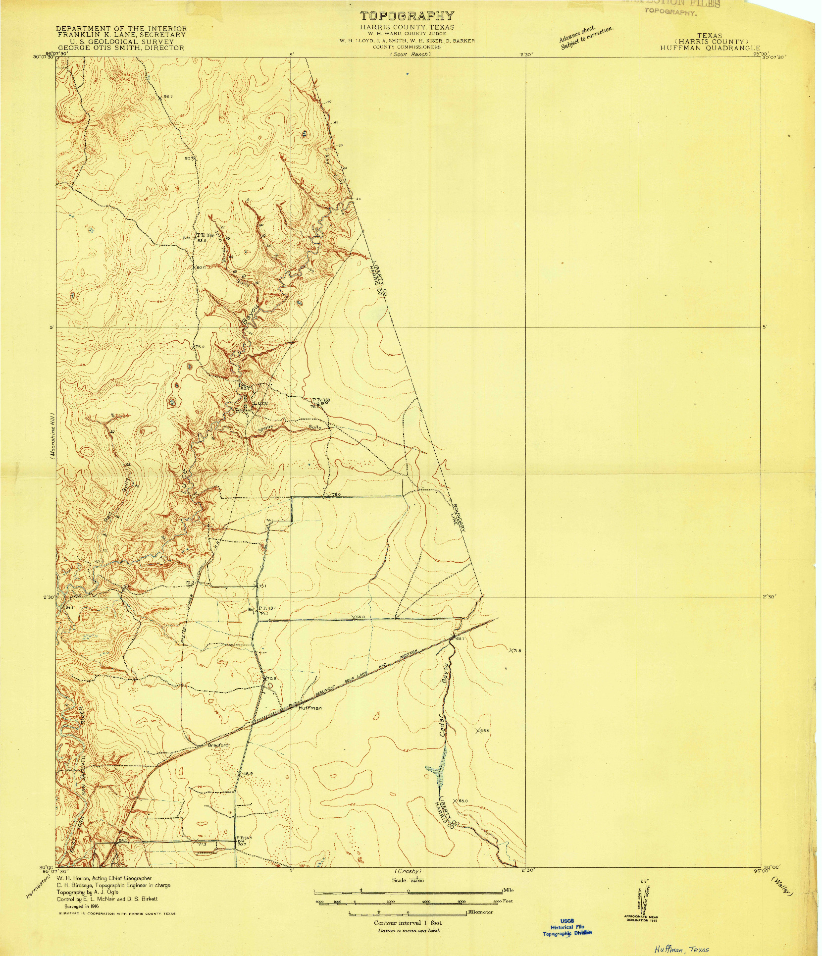 USGS 1:24000-SCALE QUADRANGLE FOR HUFFMAN, TX 1916