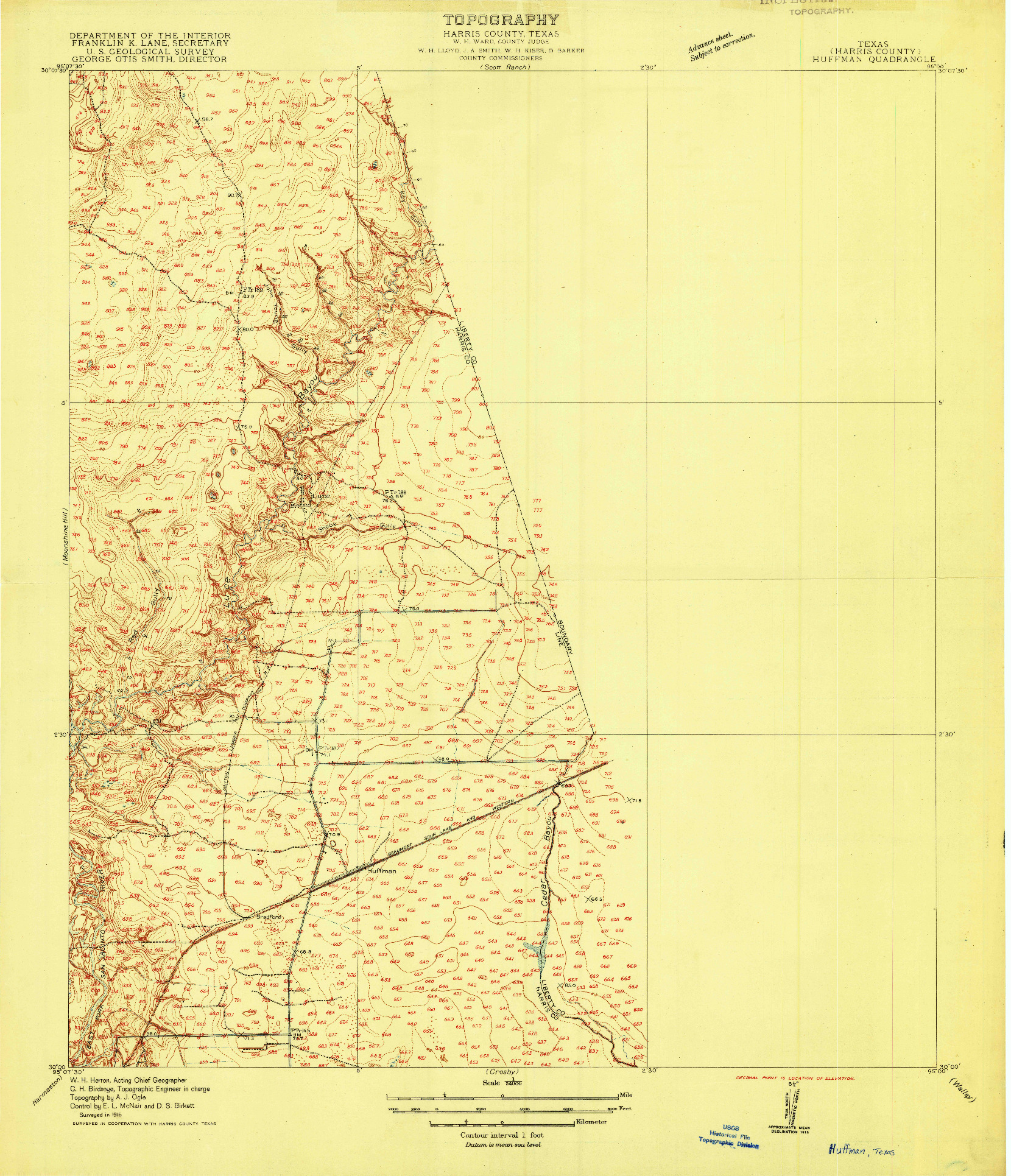 USGS 1:24000-SCALE QUADRANGLE FOR HUFFMAN, TX 1916