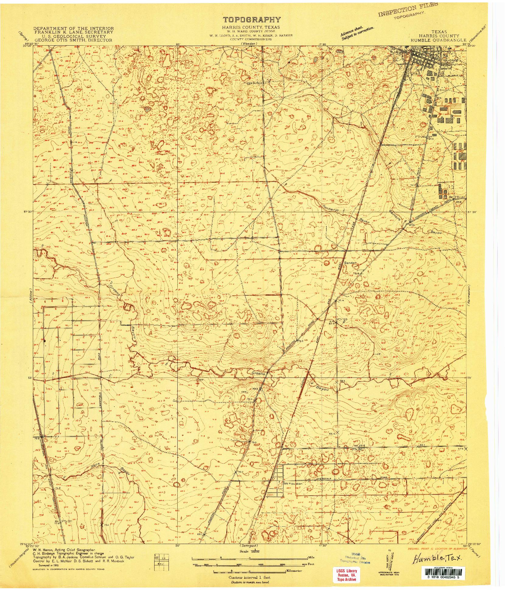 USGS 1:24000-SCALE QUADRANGLE FOR HUMBLE, TX 1916