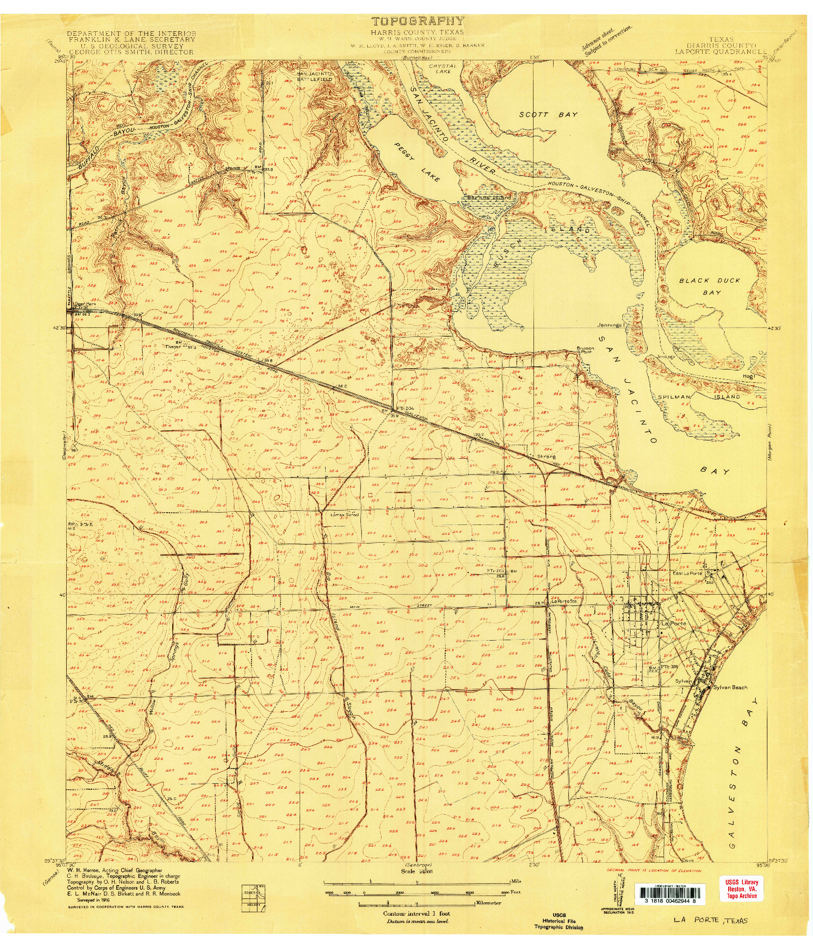 USGS 1:24000-SCALE QUADRANGLE FOR LA PORTE, TX 1916
