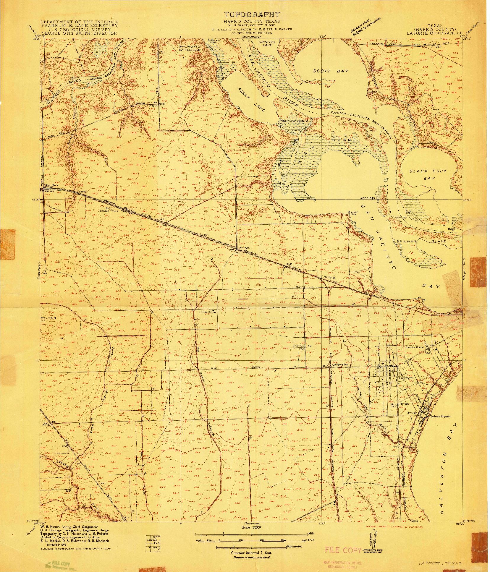 USGS 1:24000-SCALE QUADRANGLE FOR LAPORTE, TX 1916
