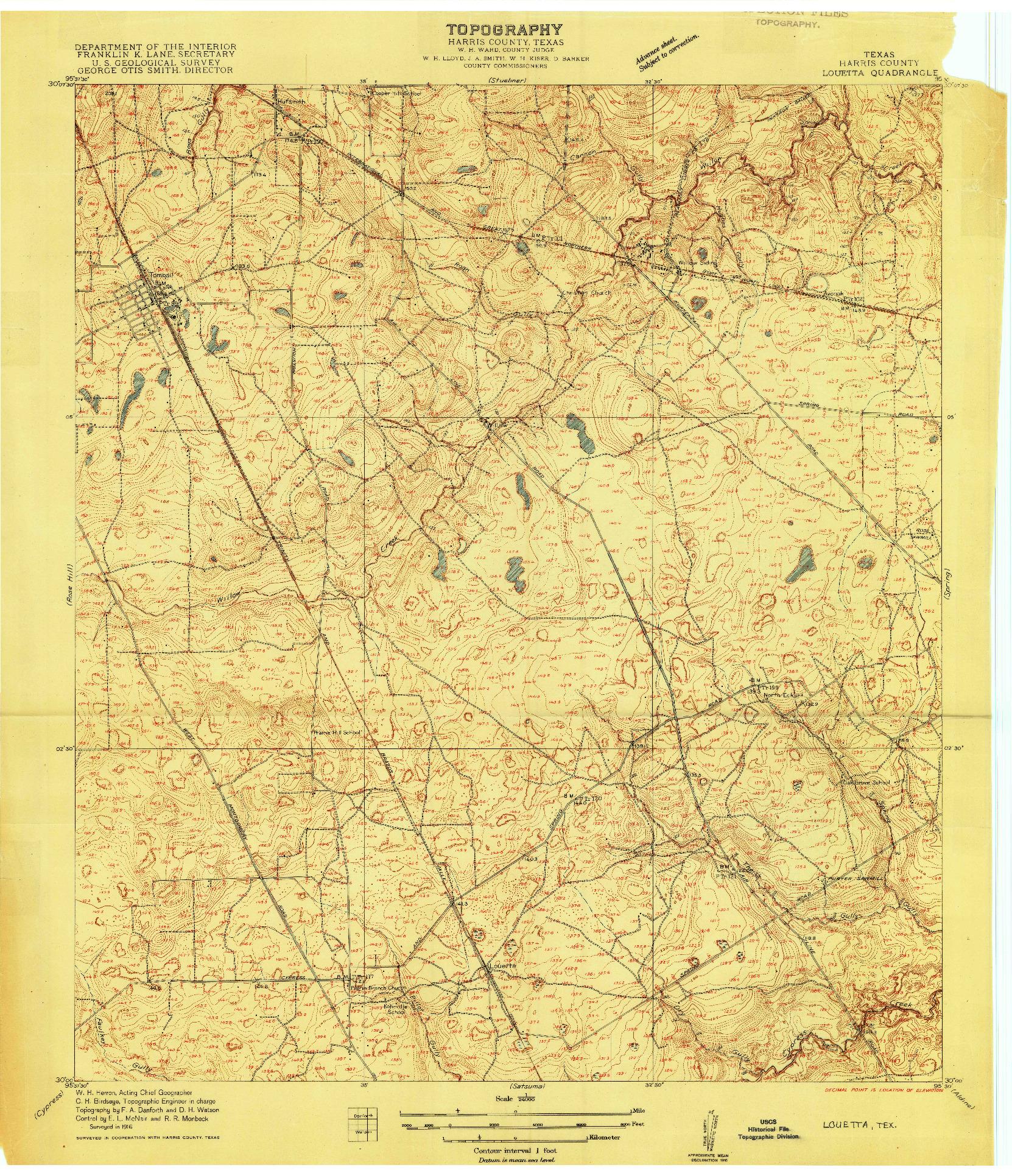 USGS 1:24000-SCALE QUADRANGLE FOR LOUETTA, TX 1916