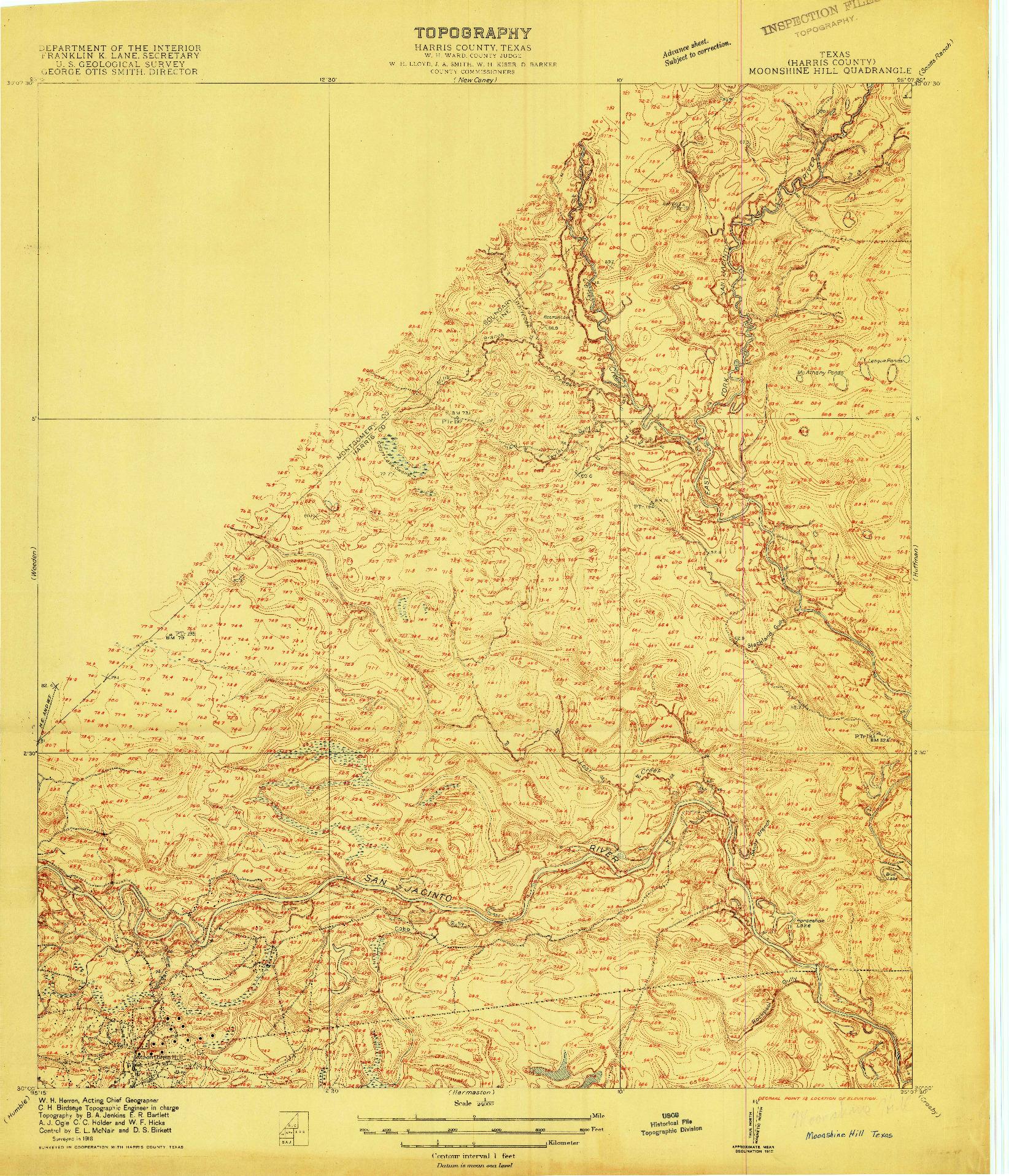 USGS 1:24000-SCALE QUADRANGLE FOR MOONSHINE HILL, TX 1916