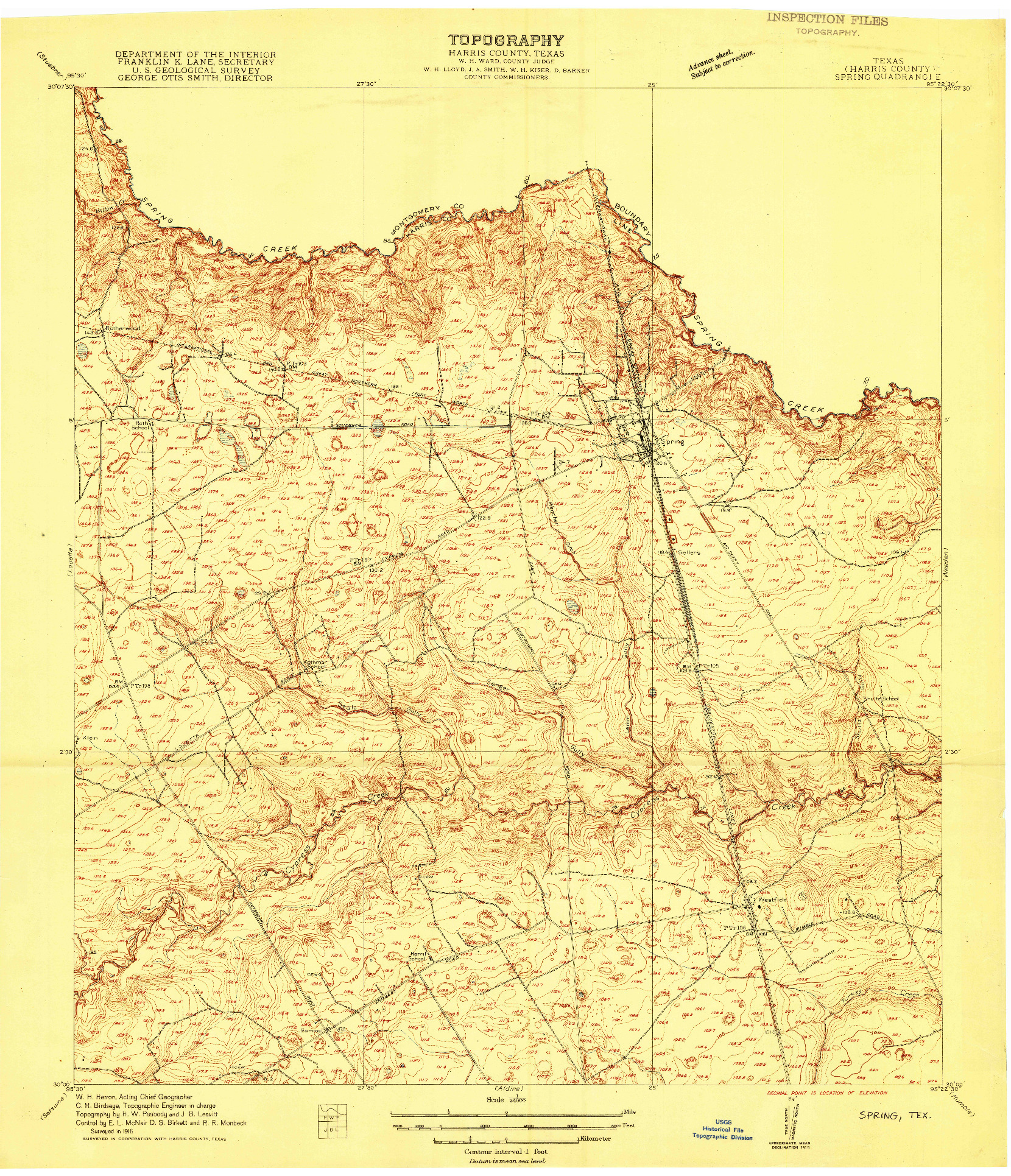 USGS 1:24000-SCALE QUADRANGLE FOR SPRING, TX 1916