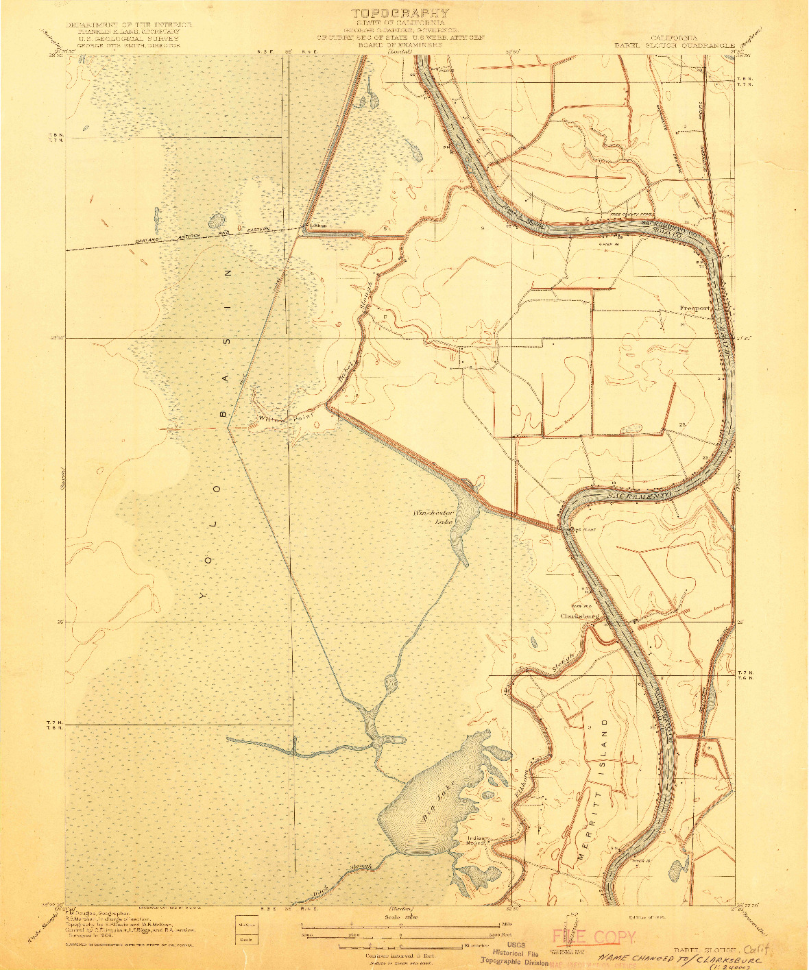 USGS 1:31680-SCALE QUADRANGLE FOR BABEL SLOUGH, CA 1916