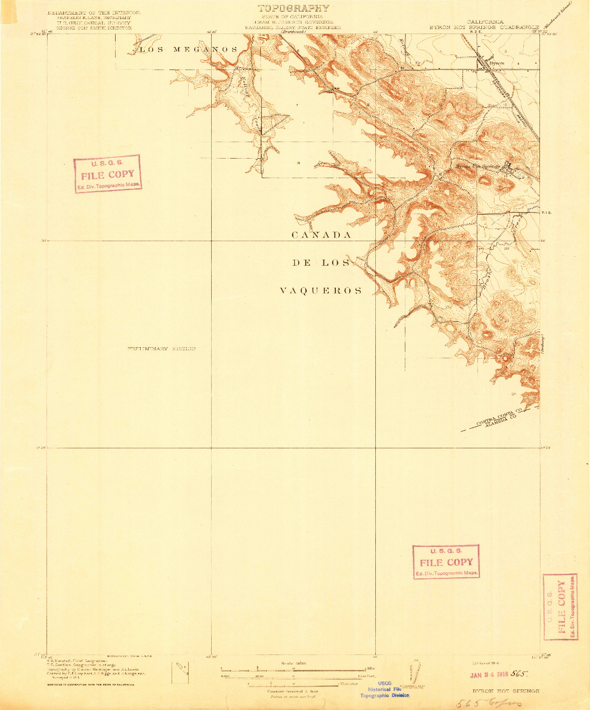 USGS 1:31680-SCALE QUADRANGLE FOR BYRON HOT SPRINGS, CA 1916