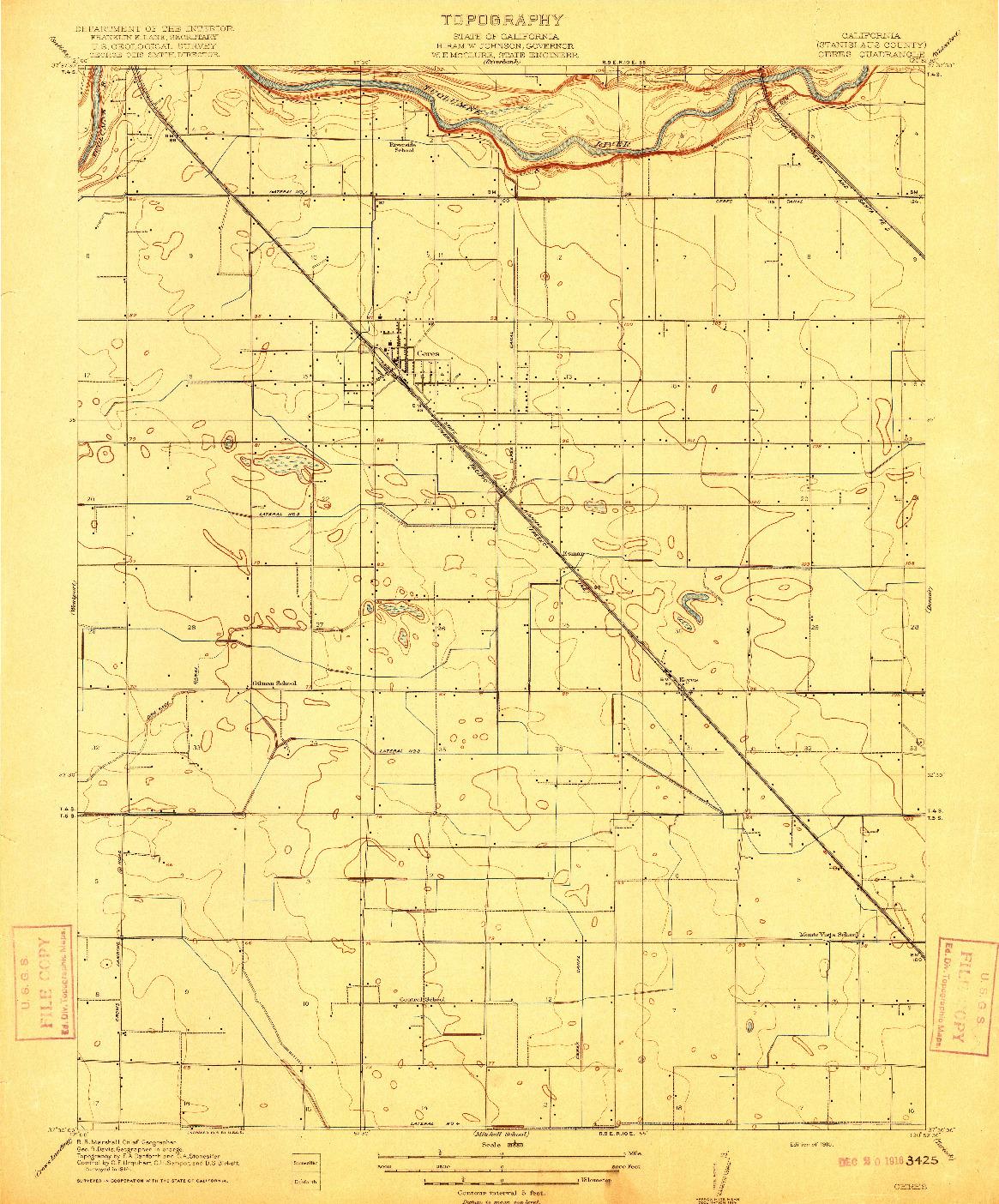 USGS 1:31680-SCALE QUADRANGLE FOR CERES, CA 1916