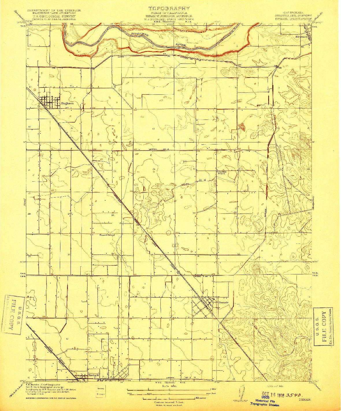 USGS 1:31680-SCALE QUADRANGLE FOR DENAIR, CA 1916