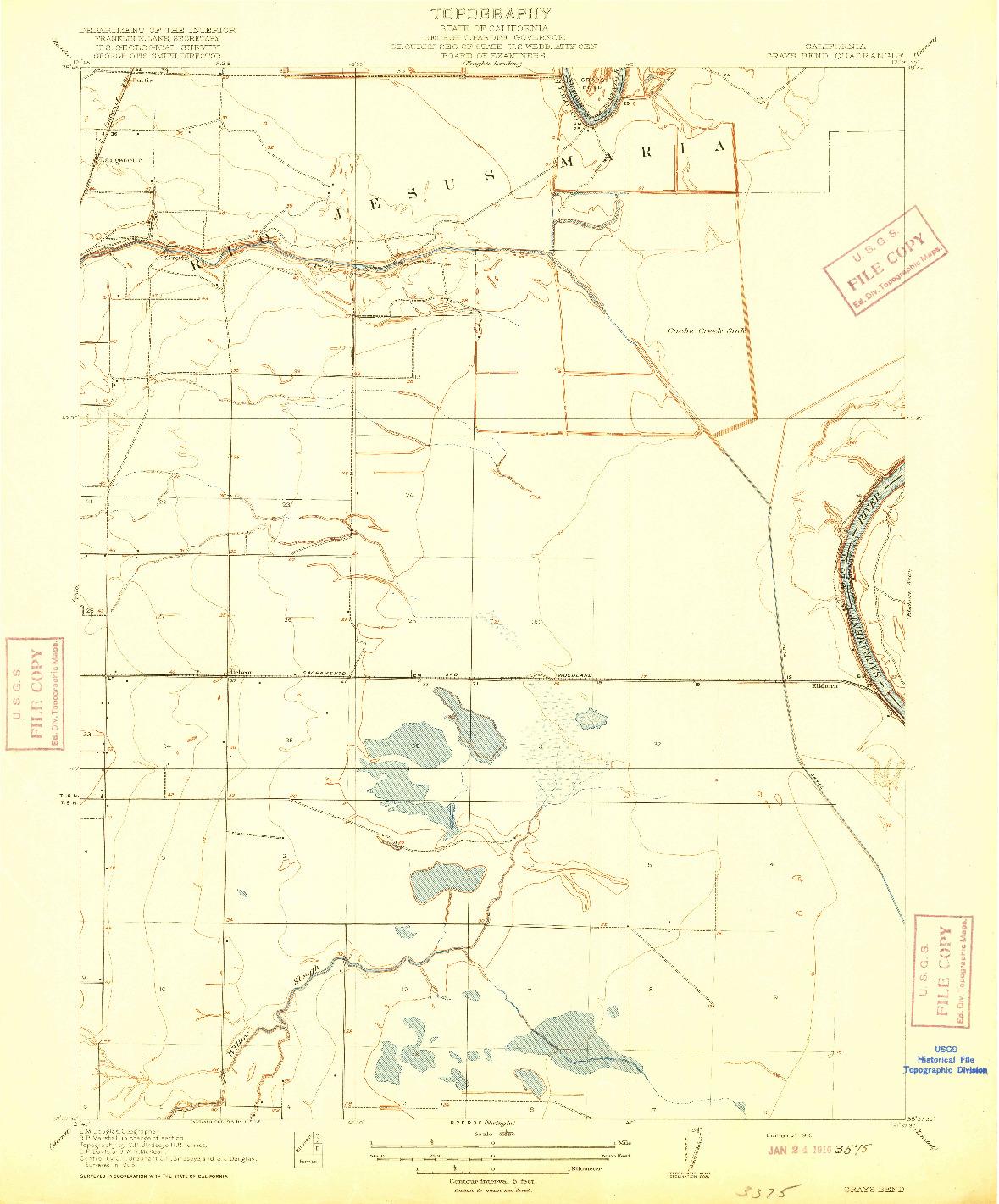 USGS 1:31680-SCALE QUADRANGLE FOR GRAYS BEND, CA 1916
