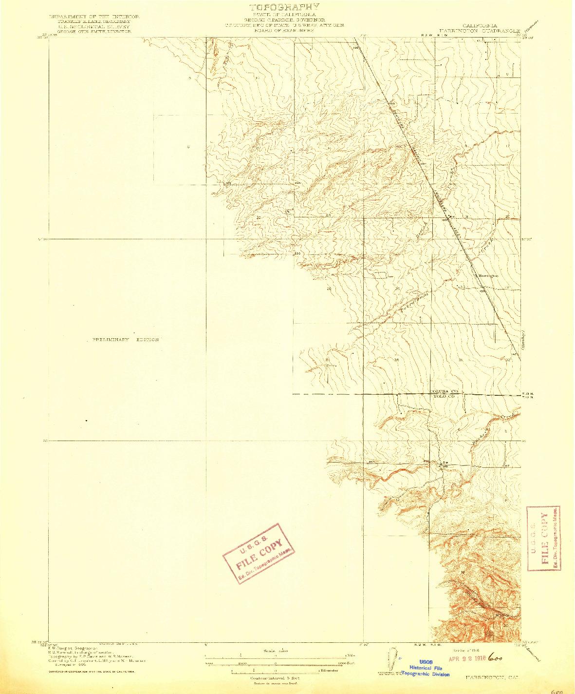 USGS 1:31680-SCALE QUADRANGLE FOR HARRINGTON, CA 1916