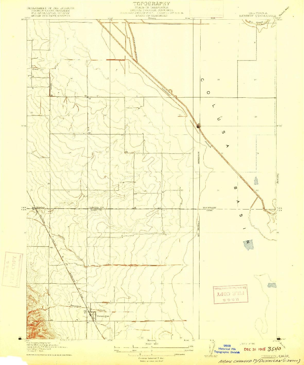 USGS 1:31680-SCALE QUADRANGLE FOR HERSHEY, CA 1916