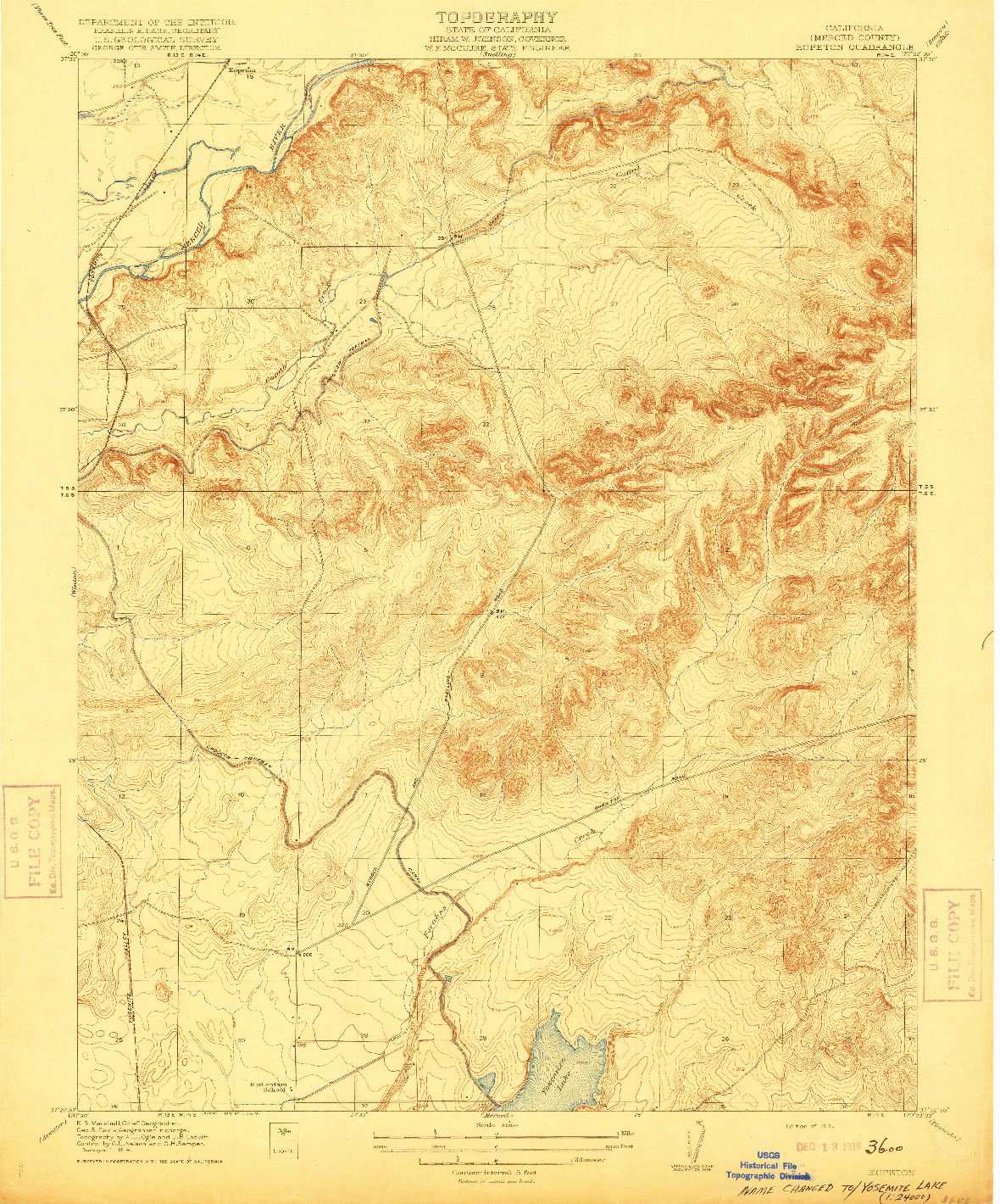 USGS 1:31680-SCALE QUADRANGLE FOR HOPETON, CA 1916