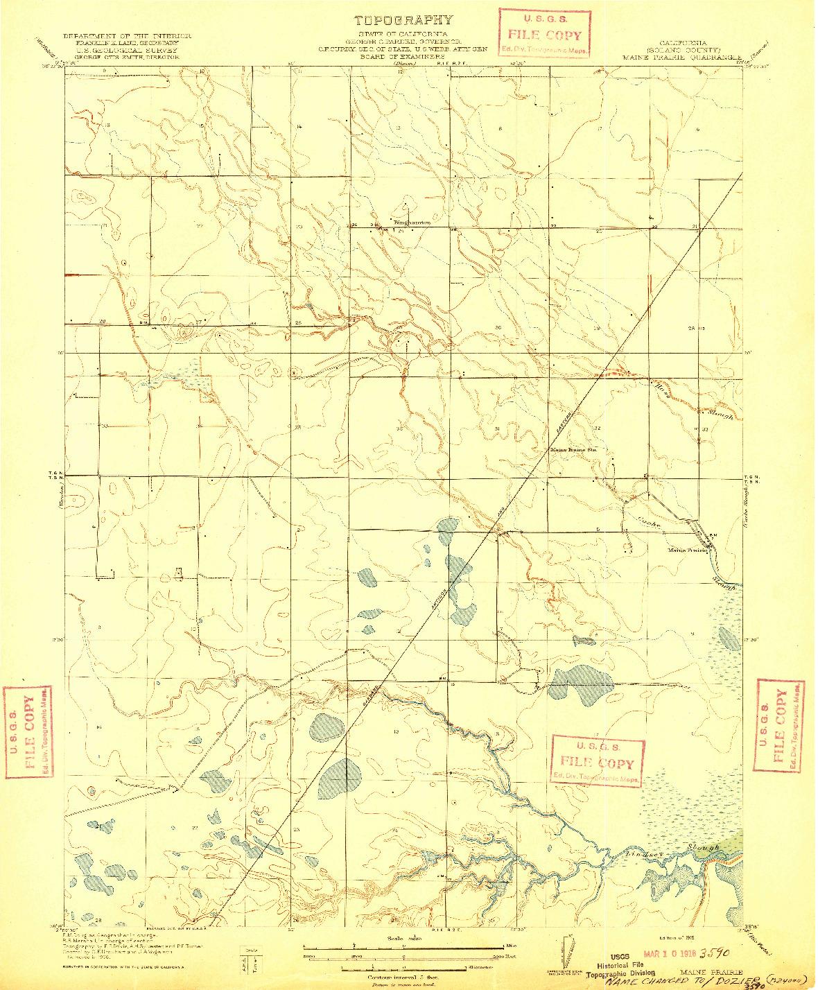 USGS 1:31680-SCALE QUADRANGLE FOR MAINE PRAIRIE, CA 1916