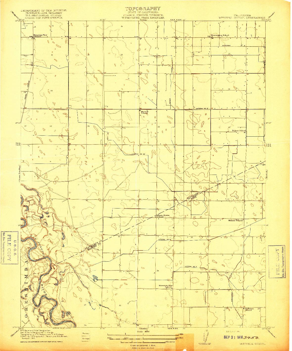 USGS 1:31680-SCALE QUADRANGLE FOR MITCHELL SCHOOL, CA 1916