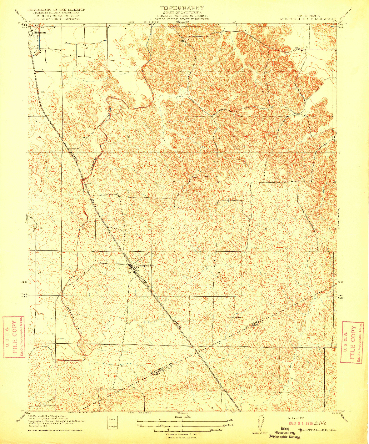 USGS 1:31680-SCALE QUADRANGLE FOR MONTPELLIER, CA 1916