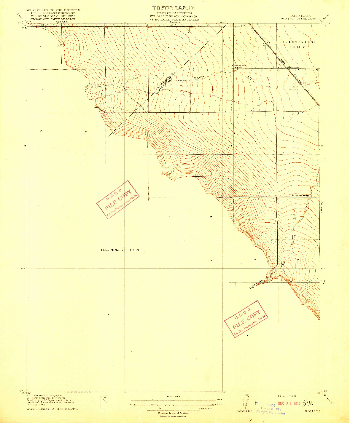 USGS 1:31680-SCALE QUADRANGLE FOR ROMAIN, CA 1916