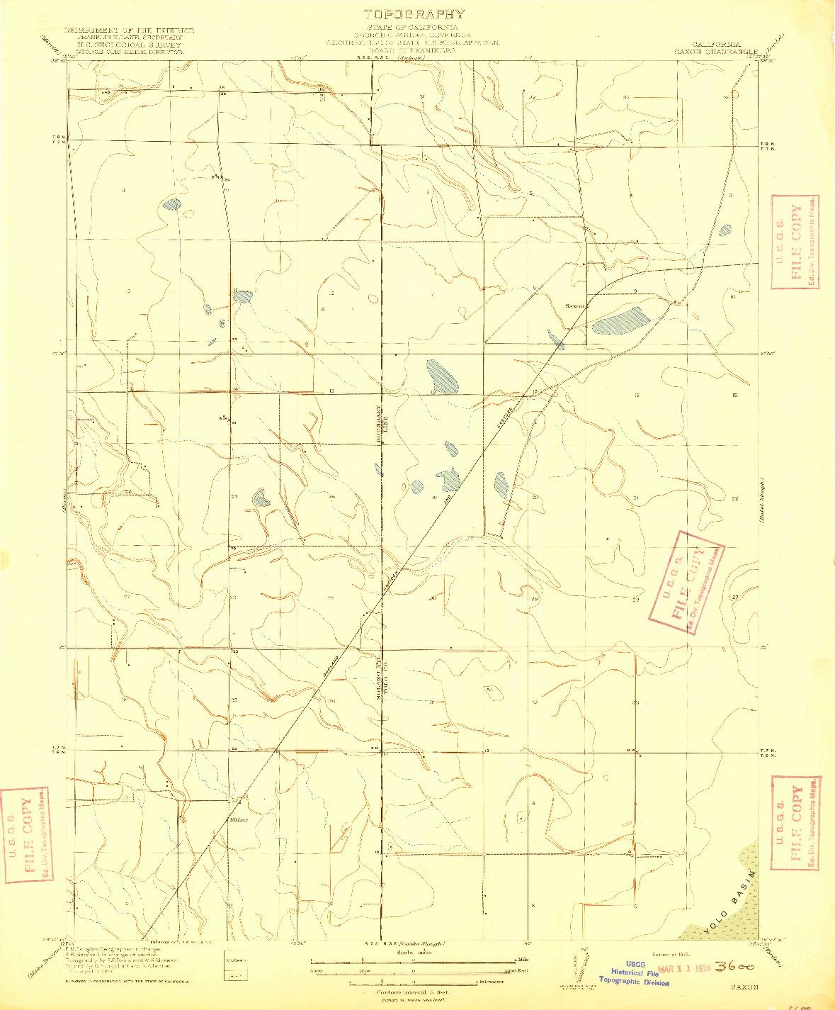 USGS 1:31680-SCALE QUADRANGLE FOR SAXON, CA 1916