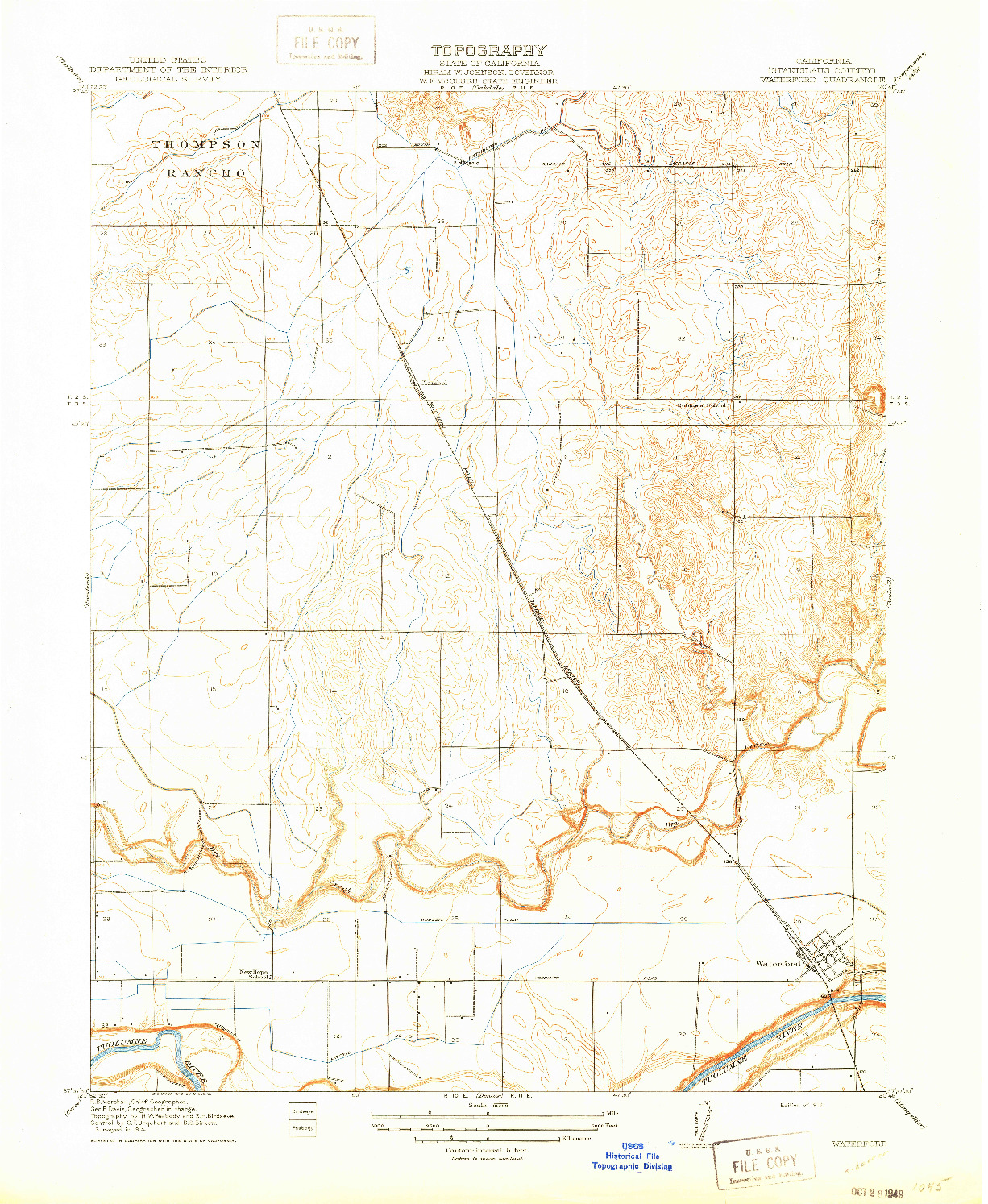 USGS 1:31680-SCALE QUADRANGLE FOR WATERFORD, CA 1916