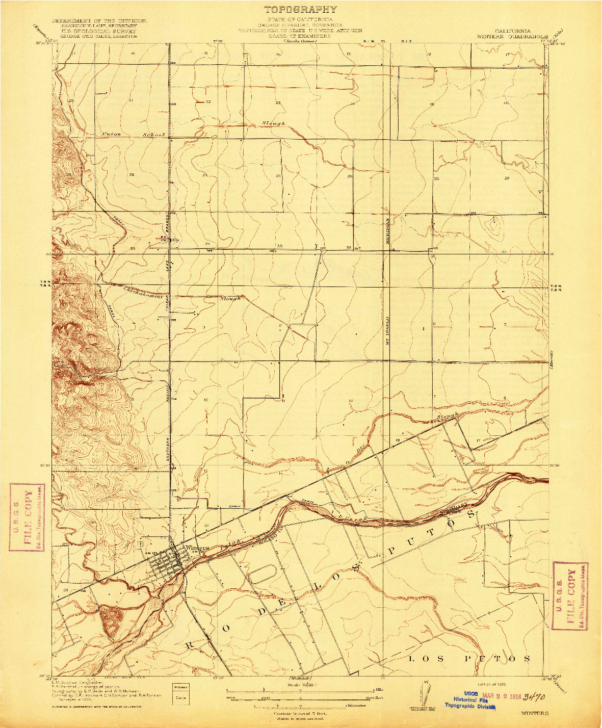 USGS 1:31680-SCALE QUADRANGLE FOR WINTERS, CA 1916