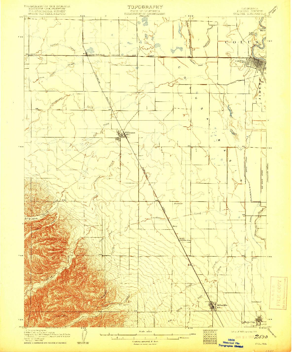 USGS 1:62500-SCALE QUADRANGLE FOR COLUSA, CA 1907