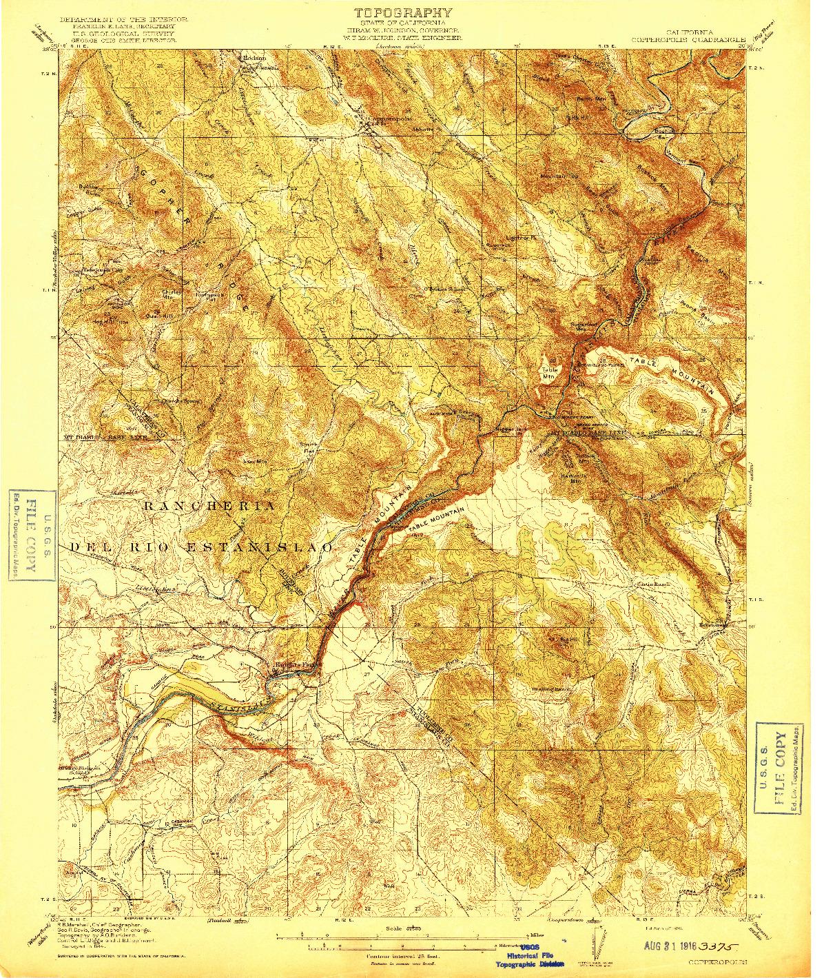 USGS 1:62500-SCALE QUADRANGLE FOR COPPEROPOLIS, CA 1916