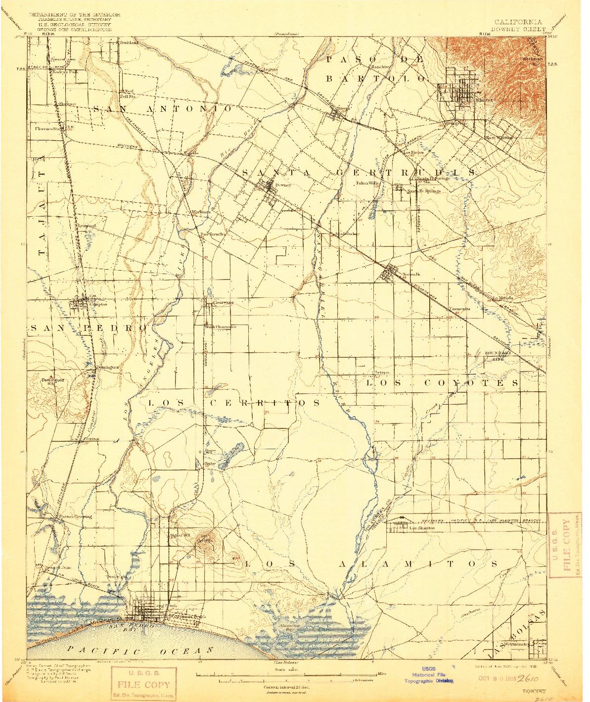 USGS 1:62500-SCALE QUADRANGLE FOR DOWNEY, CA 1902
