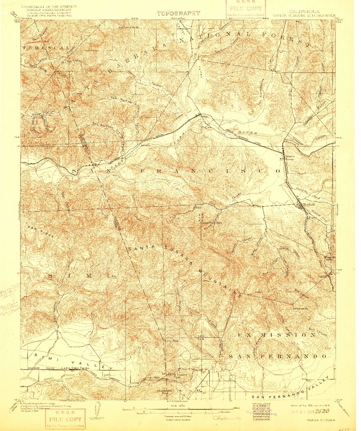 USGS 1:62500-SCALE QUADRANGLE FOR SANTA SUSANA, CA 1903