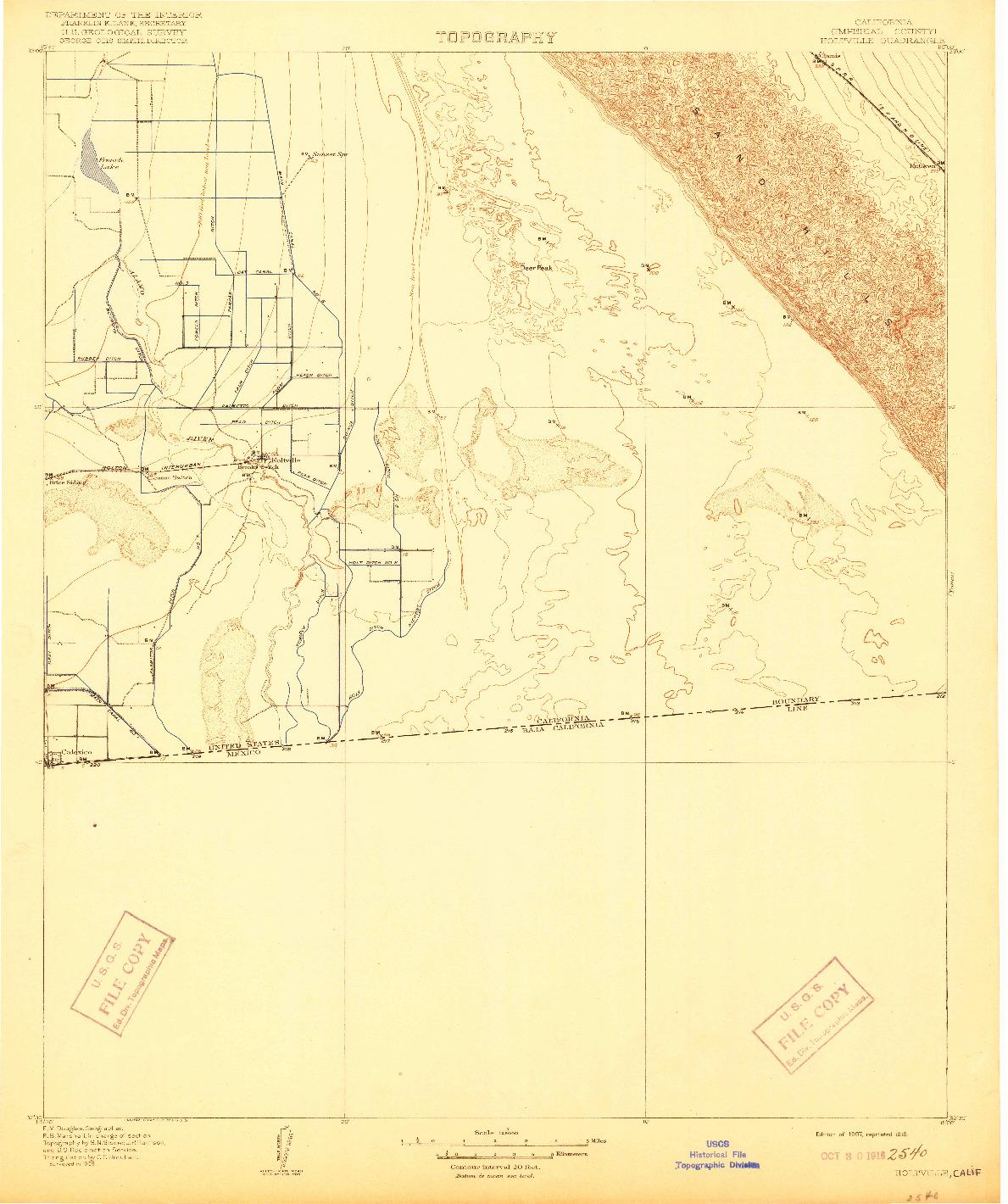 USGS 1:125000-SCALE QUADRANGLE FOR HOLTVILLE, CA 1907