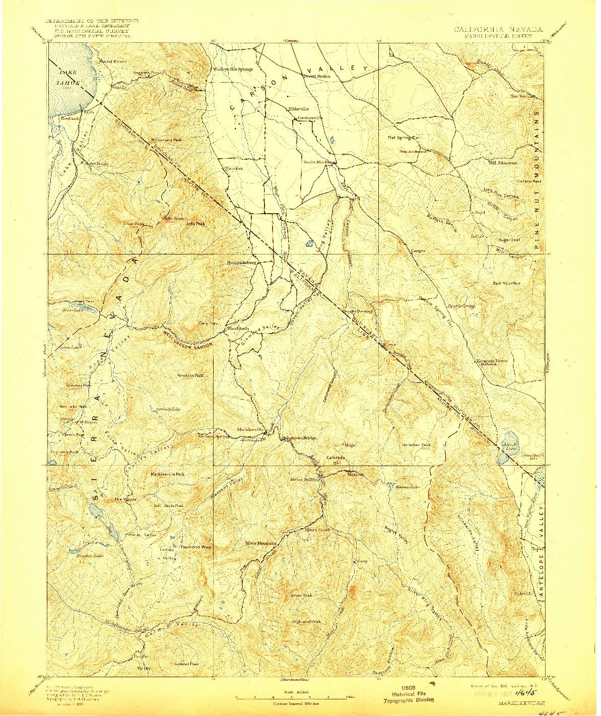 USGS 1:125000-SCALE QUADRANGLE FOR MARKLEEVILLE, CA 1893