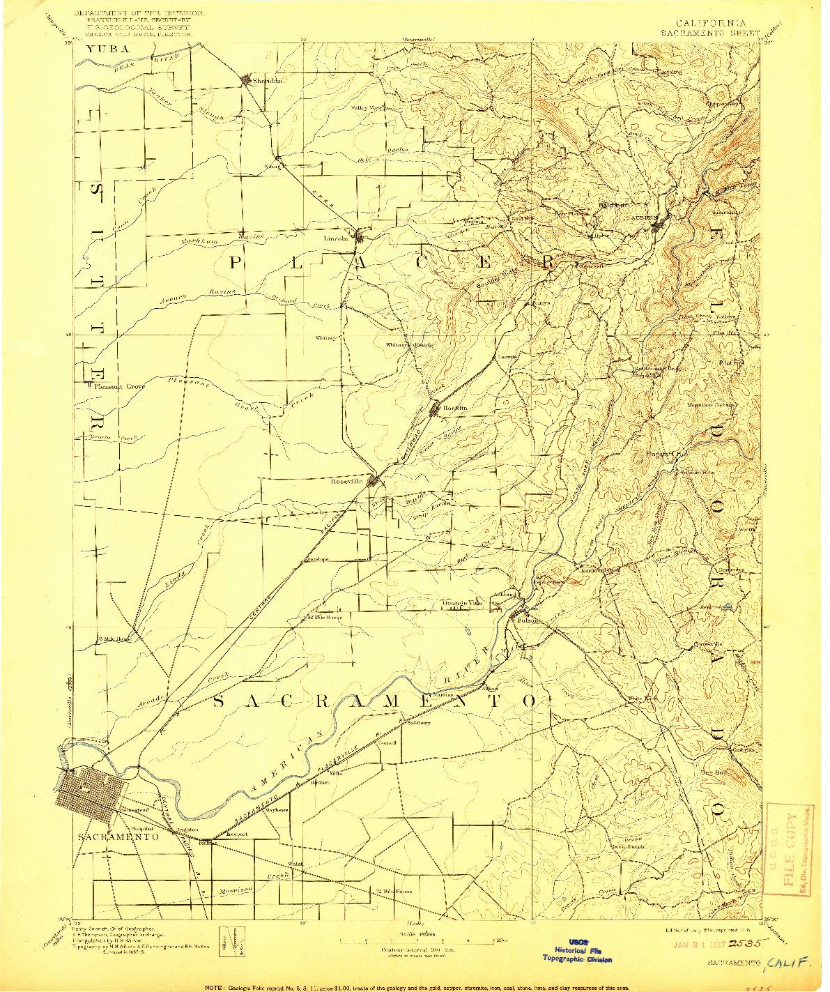 USGS 1:125000-SCALE QUADRANGLE FOR SACRAMENTO, CA 1892