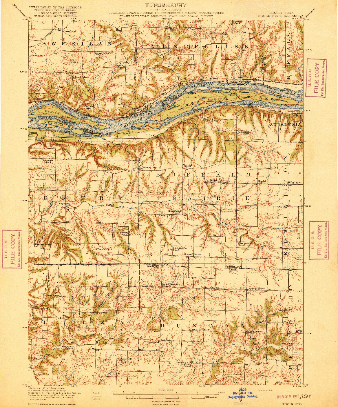 USGS 1:62500-SCALE QUADRANGLE FOR EDGINGTON, IL 1916