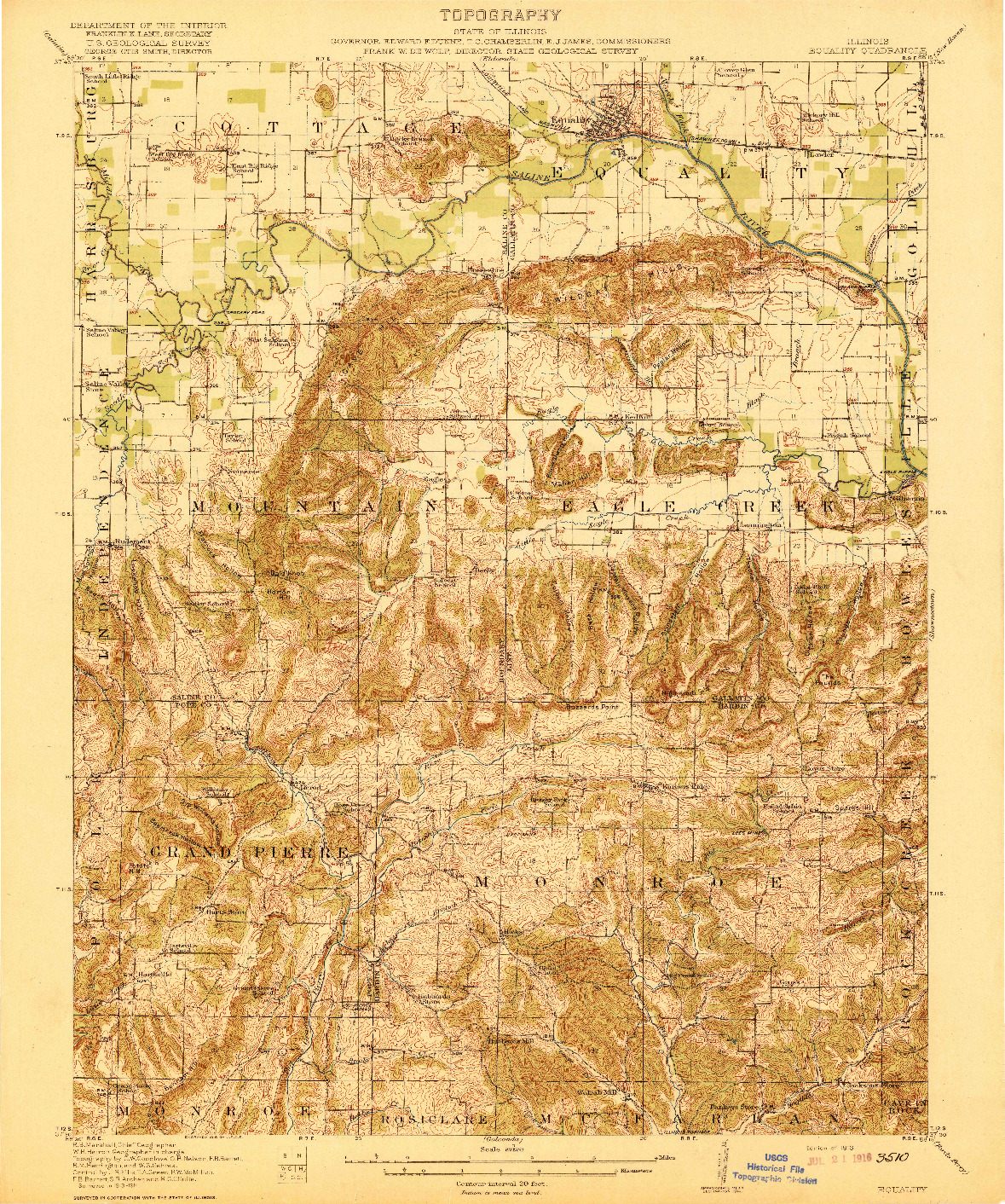 USGS 1:62500-SCALE QUADRANGLE FOR EQUALITY, IL 1916