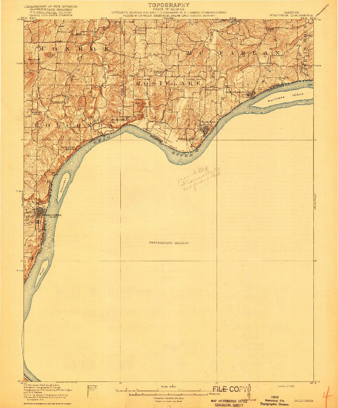 USGS 1:62500-SCALE QUADRANGLE FOR GOLCONDA, IL 1916