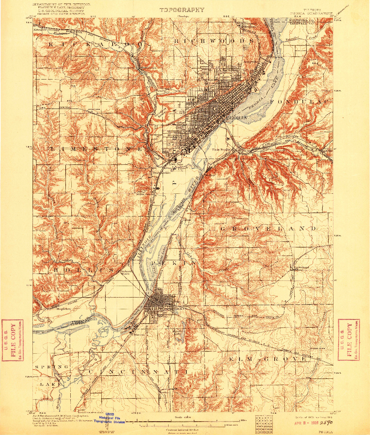 USGS 1:62500-SCALE QUADRANGLE FOR PEORIA, IL 1905