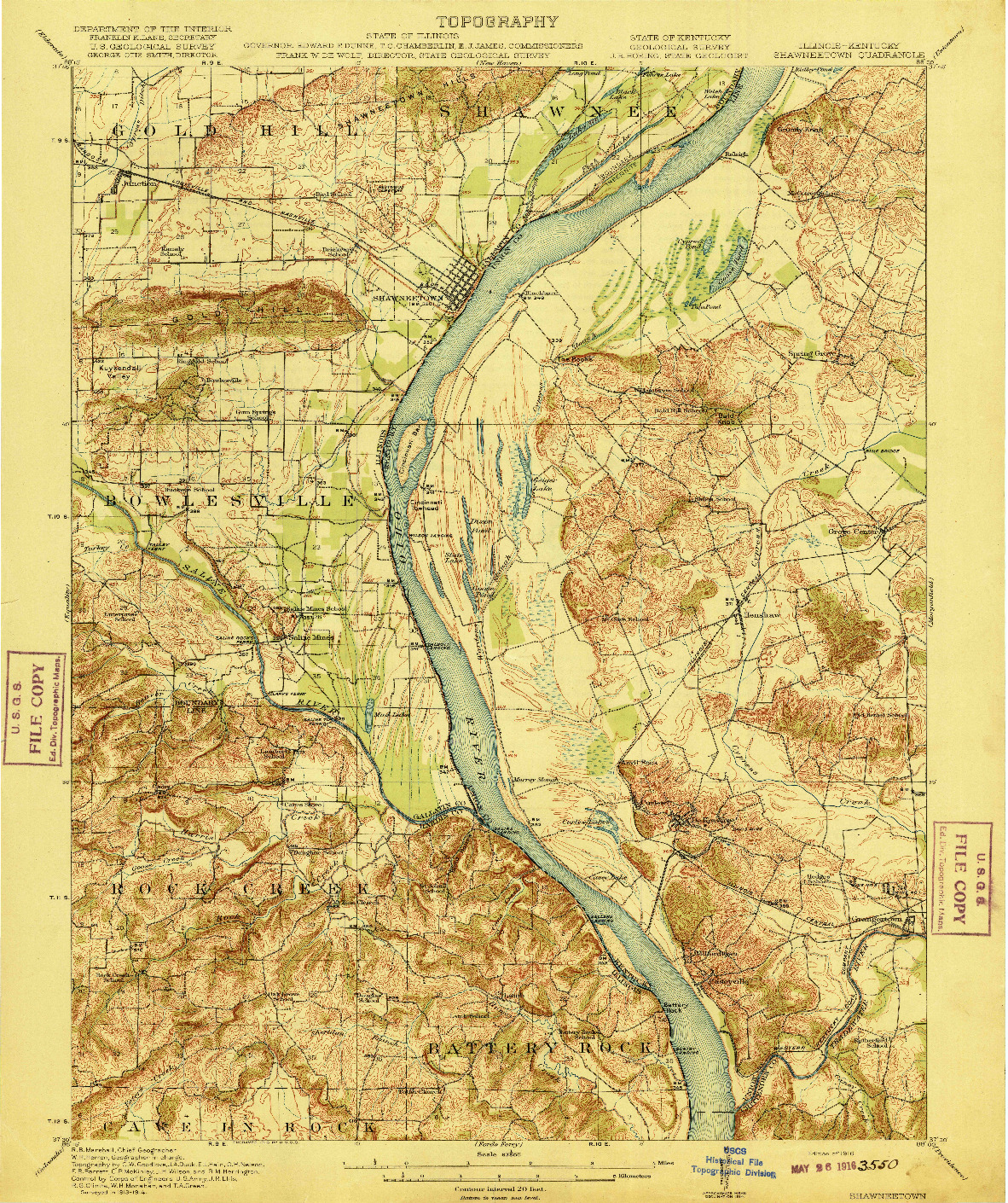USGS 1:62500-SCALE QUADRANGLE FOR SHAWNEETOWN, IL 1916