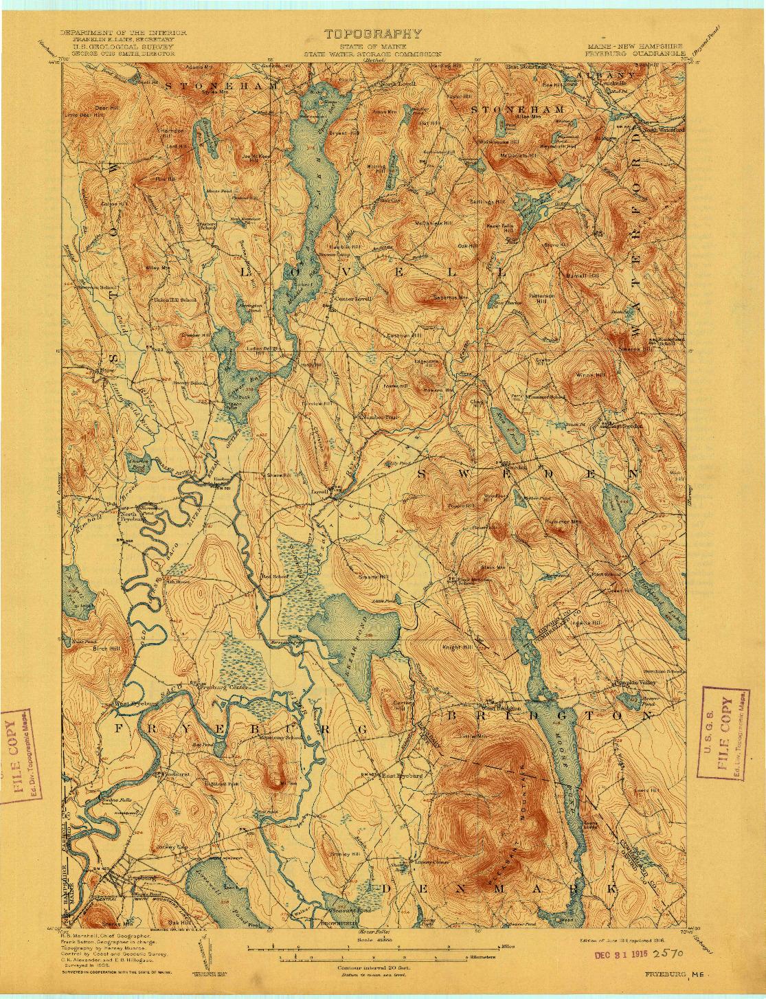 USGS 1:62500-SCALE QUADRANGLE FOR FRYEBURG, ME 1911