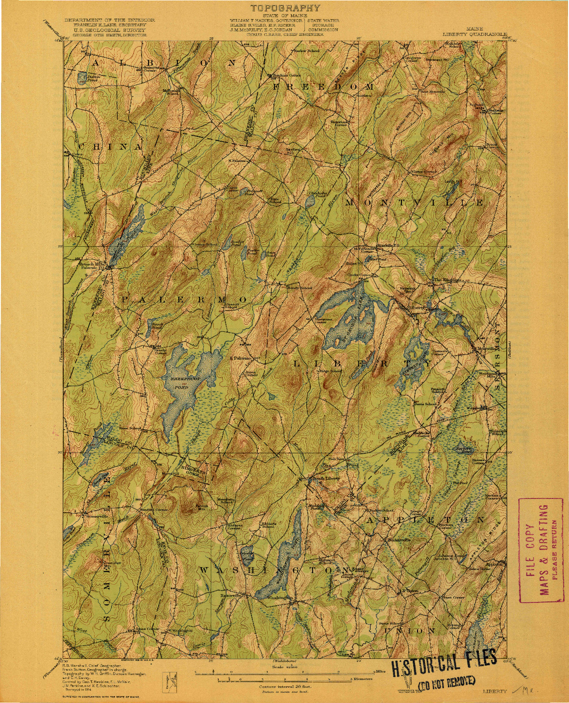 USGS 1:62500-SCALE QUADRANGLE FOR LIBERTY, ME 1916