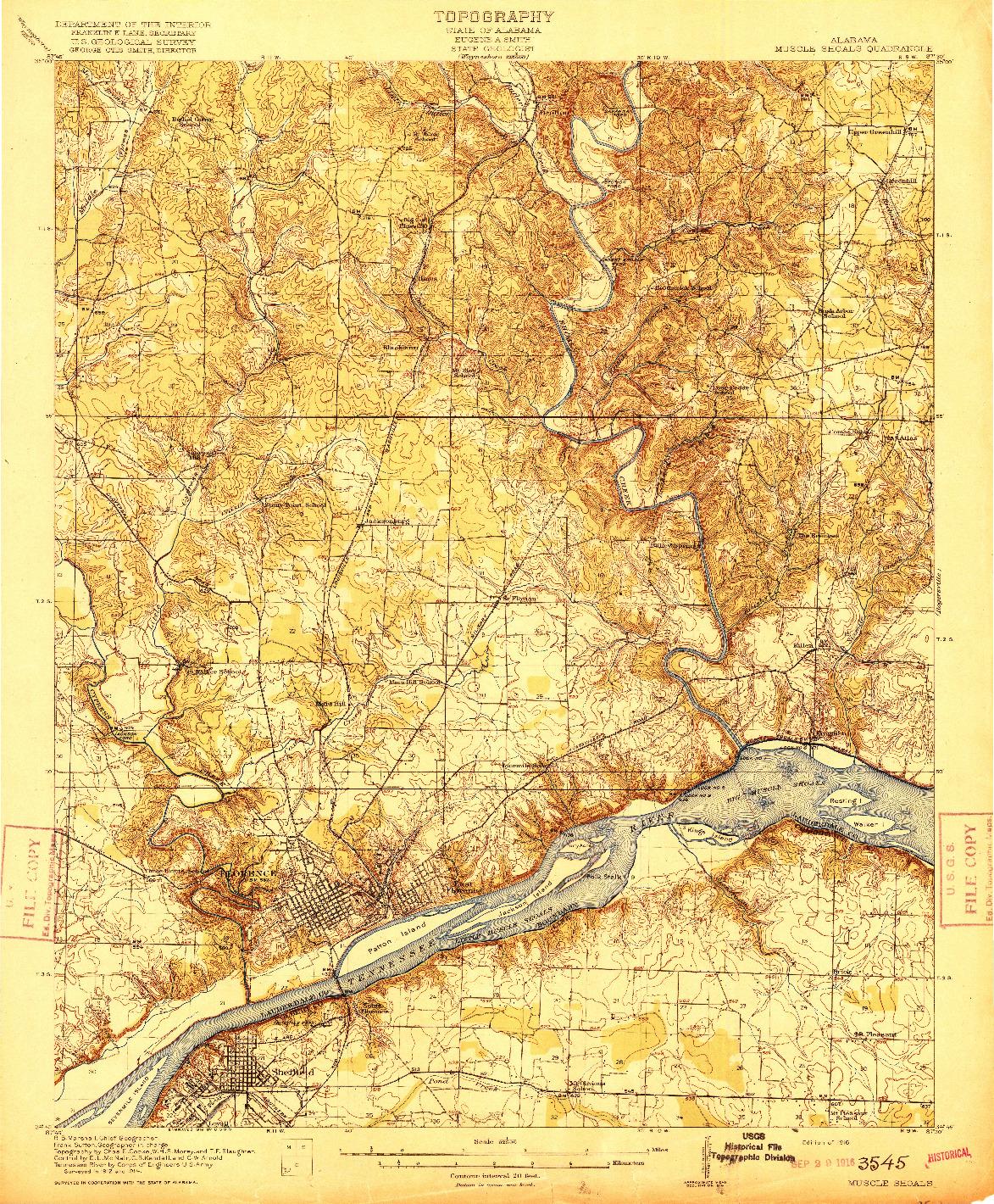 USGS 1:62500-SCALE QUADRANGLE FOR MUSCLE SHOALS, AL 1916
