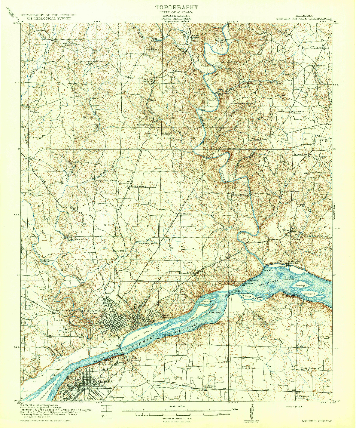 USGS 1:62500-SCALE QUADRANGLE FOR MUSCLE SHOALS, AL 1916