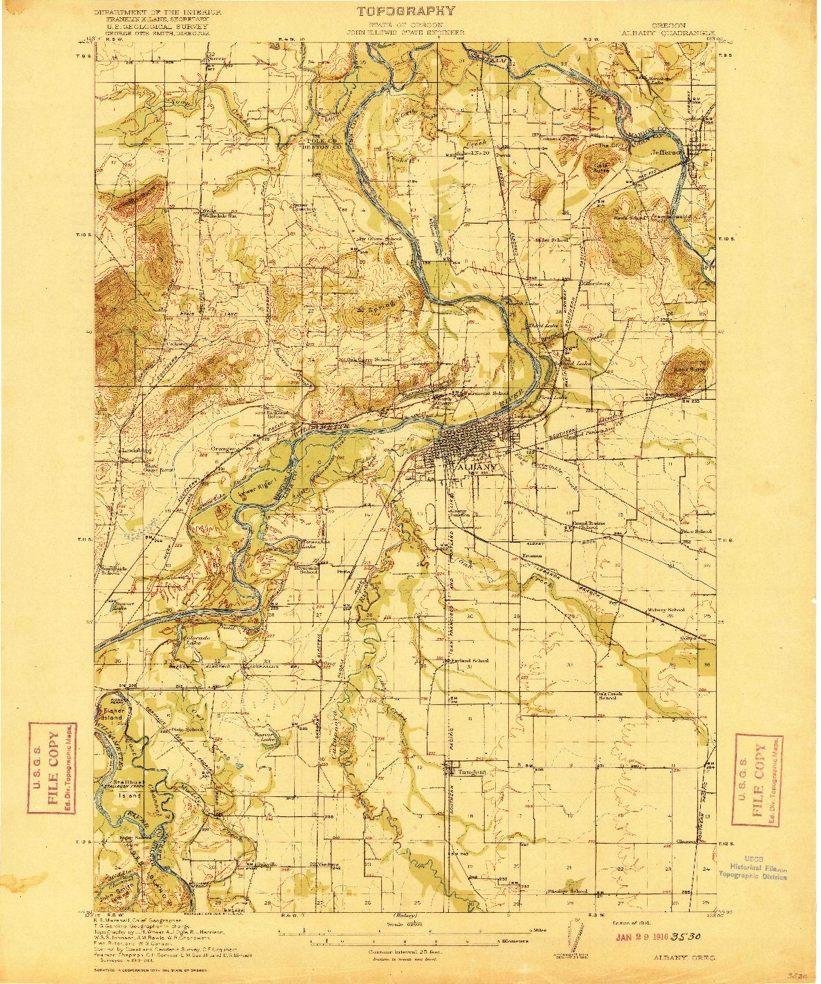 USGS 1:62500-SCALE QUADRANGLE FOR ALBANY, OR 1916