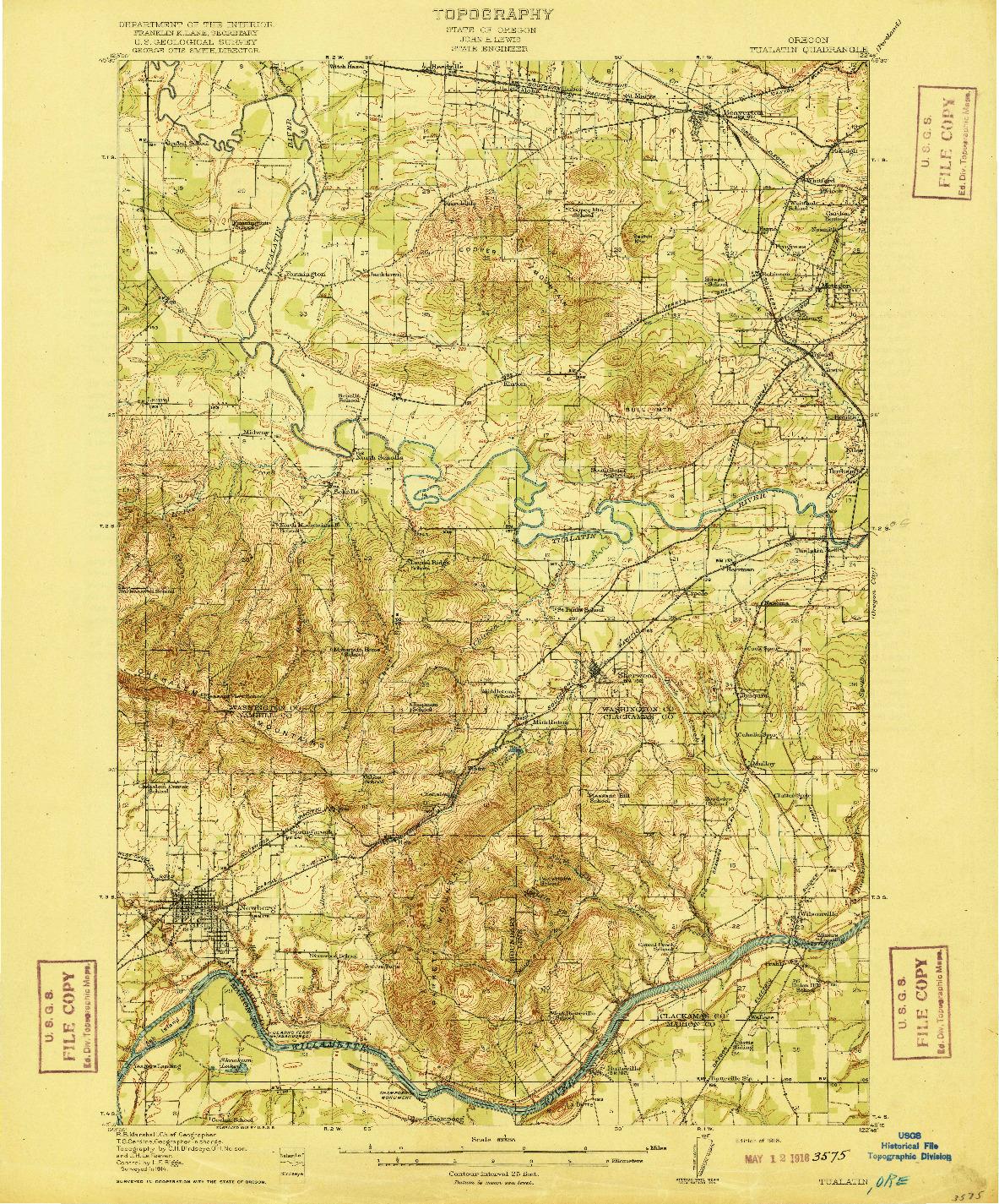 USGS 1:62500-SCALE QUADRANGLE FOR TUALATIN, OR 1916