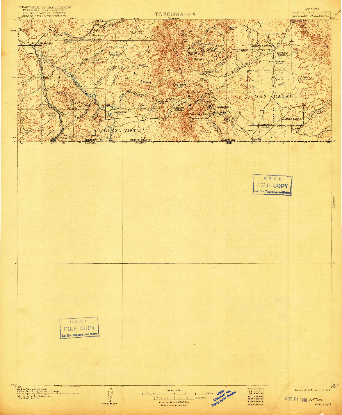 USGS 1:125000-SCALE QUADRANGLE FOR NOGALES, AZ 1905