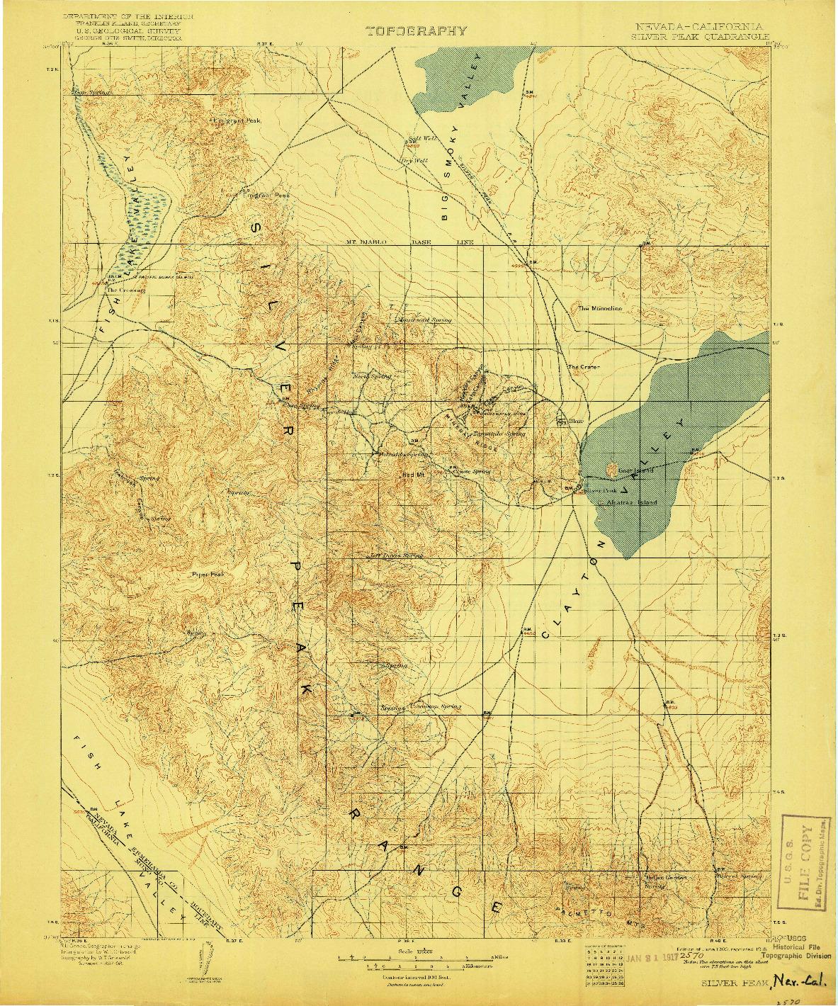 USGS 1:125000-SCALE QUADRANGLE FOR SILVER PEAK, NV 1900