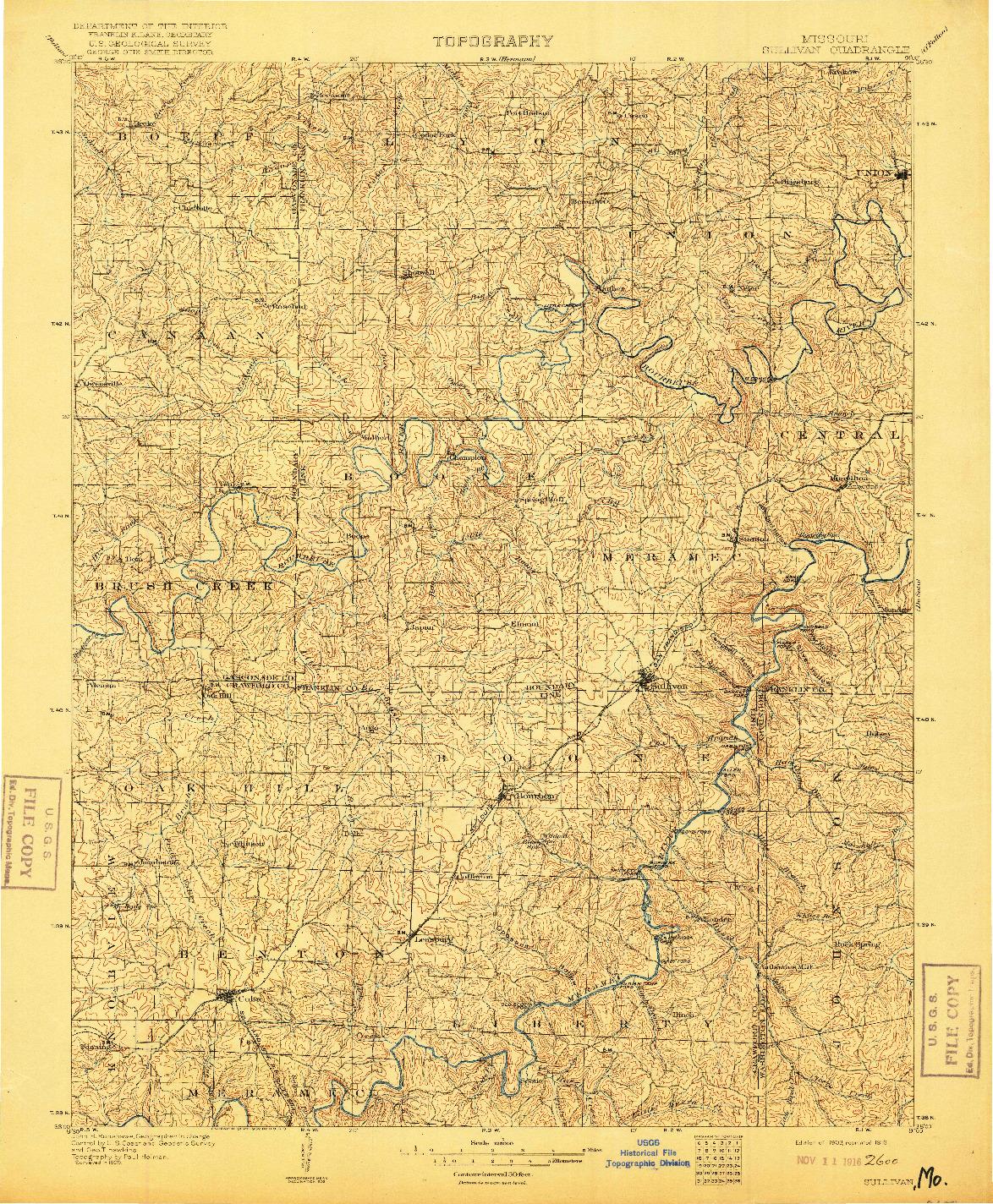 USGS 1:125000-SCALE QUADRANGLE FOR SULLIVAN, MO 1903