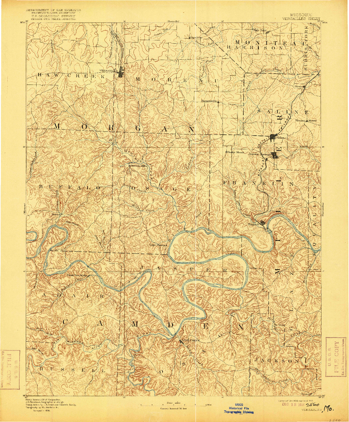 USGS 1:125000-SCALE QUADRANGLE FOR VERSAILLES, MO 1893