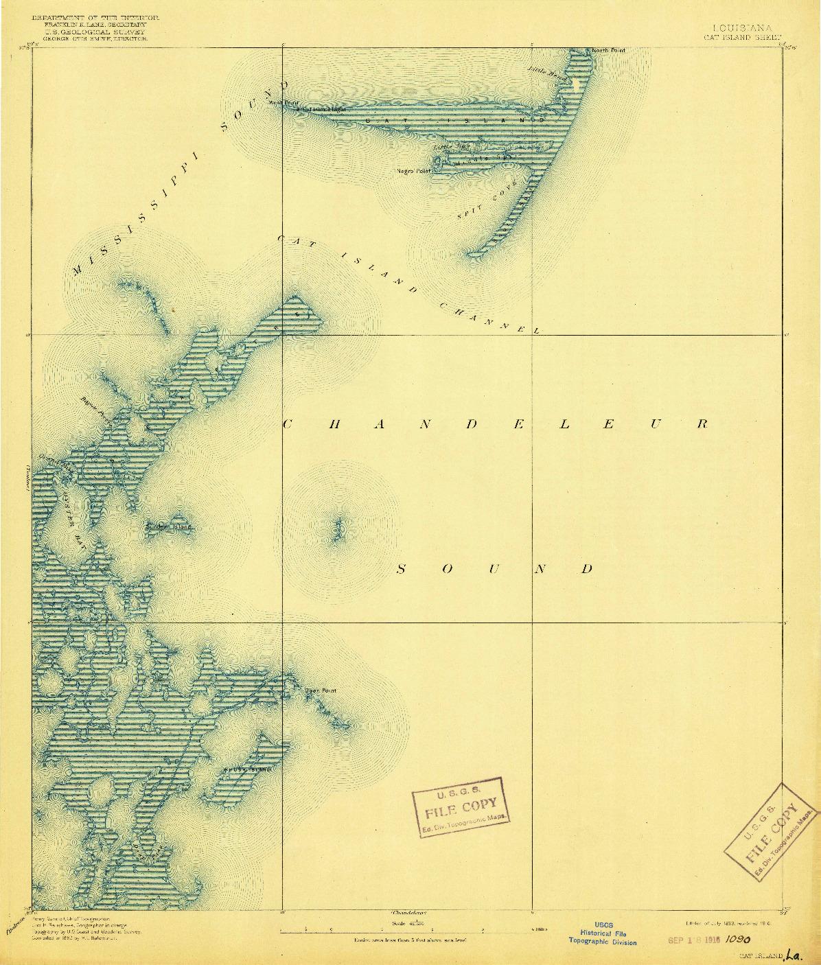 USGS 1:62500-SCALE QUADRANGLE FOR CAT ISLAND, LA 1893