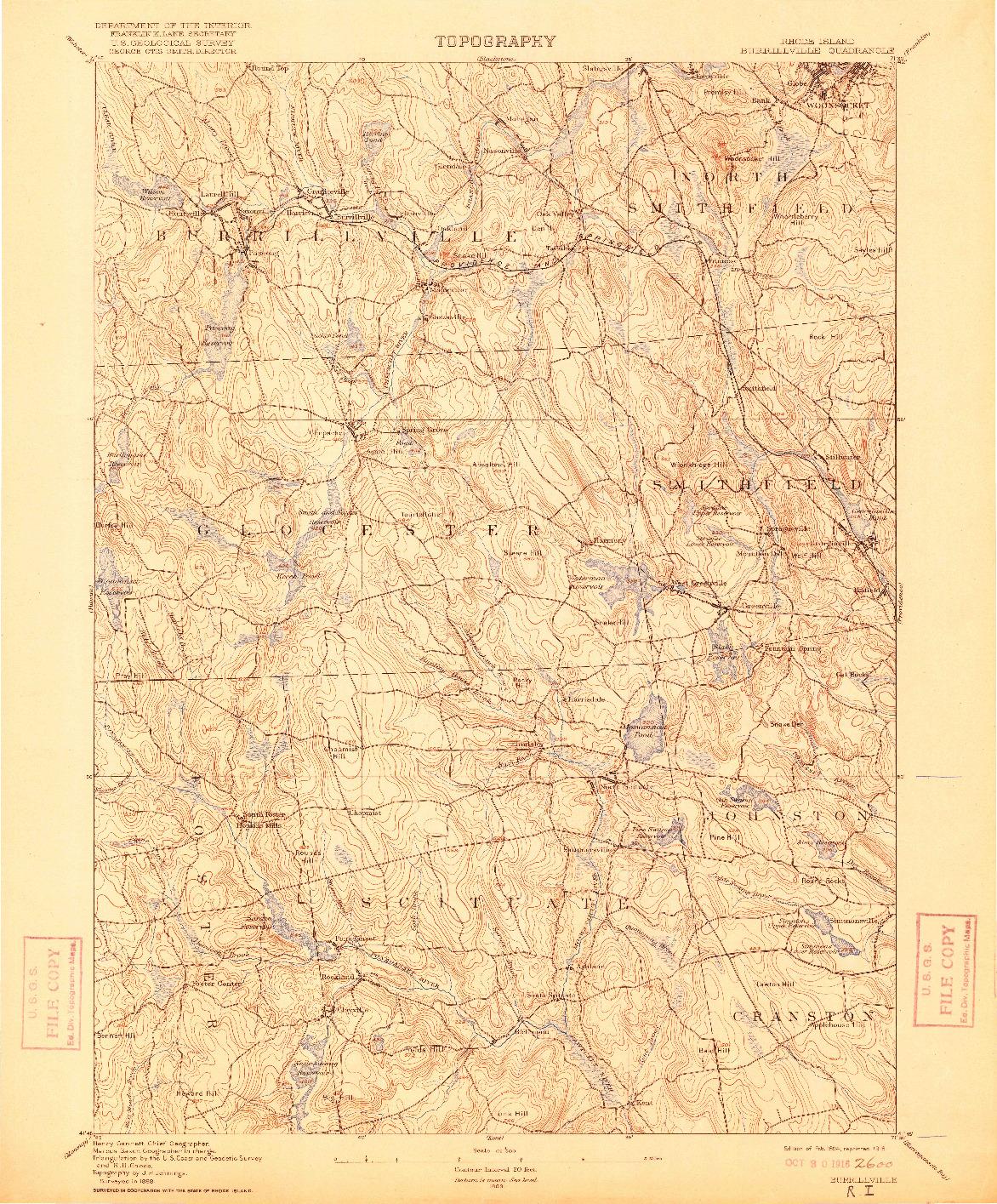 USGS 1:62500-SCALE QUADRANGLE FOR BURRILLVILLE, RI 1894